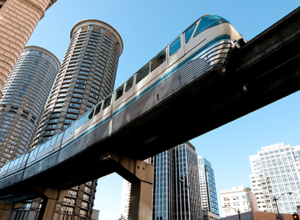 Seattle Monorail going through downtown